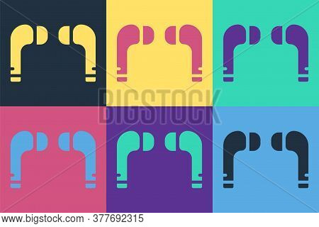 Pop Art Air Headphones Icon Icon Isolated On Color Background. Holder Wireless In Case Earphones Gar