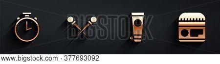 Set Stopwatch, Knitting Needles, Cream Or Lotion Cosmetic Tube And Cream Or Lotion Cosmetic Tube Ico
