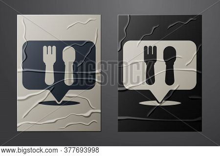 White Cafe And Restaurant Location Icon Isolated On Crumpled Paper Background. Fork And Spoon Eatery