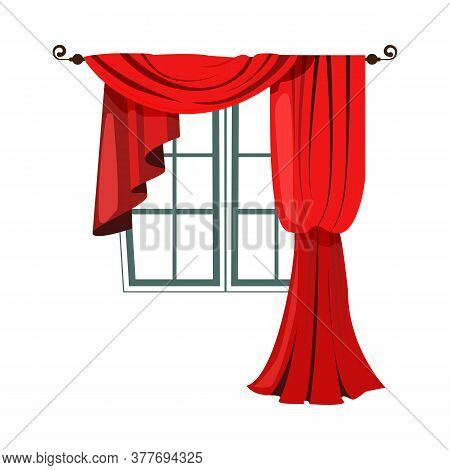 Red Decorative Curtains Flat Icon. Mansion, Palace, Window. Curtains Concept. Illustration Can Be Us