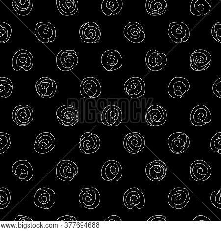 Silver Doodled Camellias On A Black Background Seamless Repeating Surface Pattern Design. Beautiful