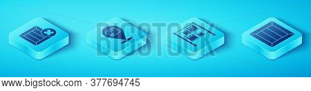 Set Isometric Wooden Box And Delete, Location With Cardboard Box, Wooden Box And Warehouse Icon. Vec