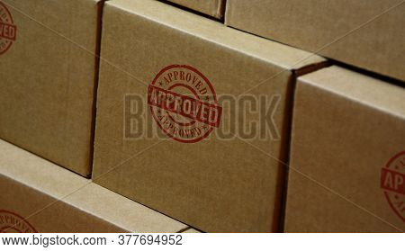 Approved Stamp Printed On Cardboard Box. Found, Accepted, Admitted And Success Concept.