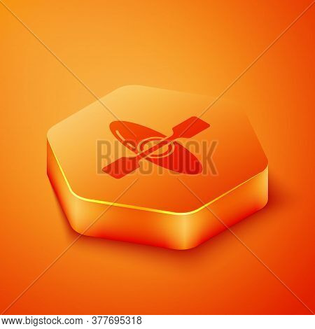 Isometric Kayak And Paddle Icon Isolated On Orange Background. Kayak And Canoe For Fishing And Touri