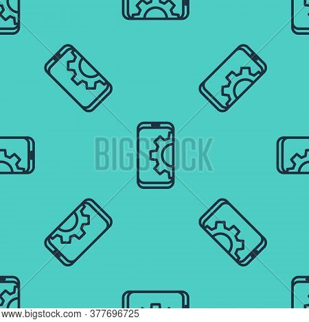 Black Line Setting On Smartphone Icon Isolated Seamless Pattern On Green Background. Adjusting, Serv