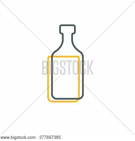 Simple Line Shape Of Rum Bottle. One Contour Figure Of A Bottle, The Second Drink. Outline Symbol Wh