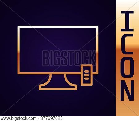 Gold Line Smart Tv Icon Isolated On Black Background. Television Sign. Vector Illustration