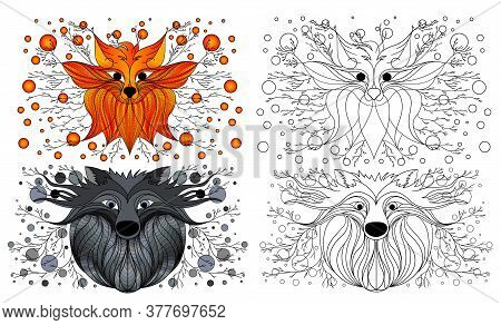 Design Drawing Fox And The Wolf . Fairy Figure. Fantastic Drawing Fox And The Wolf