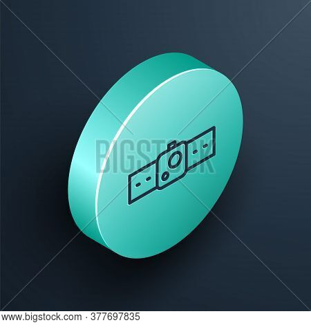 Isometric Line Smartwatch Icon Isolated On Black Background. Turquoise Circle Button. Vector Illustr