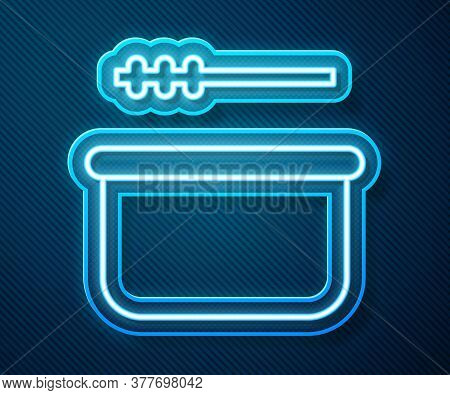 Glowing Neon Line Sauna Bucket And Ladle Icon Isolated On Blue Background. Vector Illustration