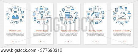 Vertical Five Banners With Line Concept Of Dentistry - Family And Children Dentistry
