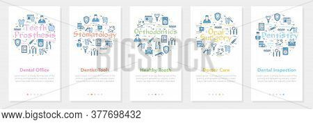 Vertical Five Banners With Line Concept Of Dentistry - Dental Inspection, Office And Tools