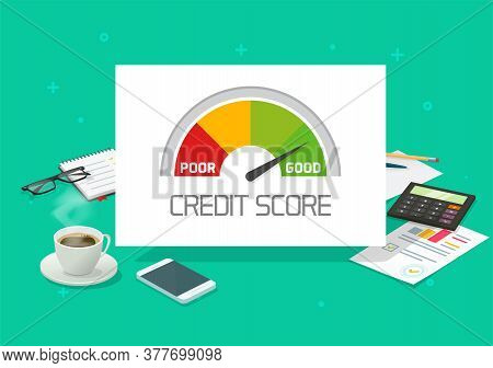 Credit Score Rating Report Analysis Check Or Financial History Accounting Information Concept Vector