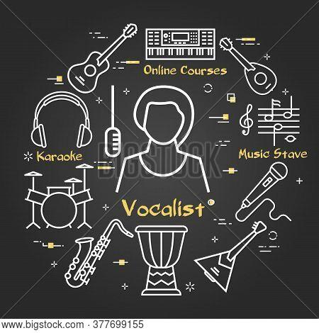 Vector Black Linear Banner For Music - Vocalist Girl