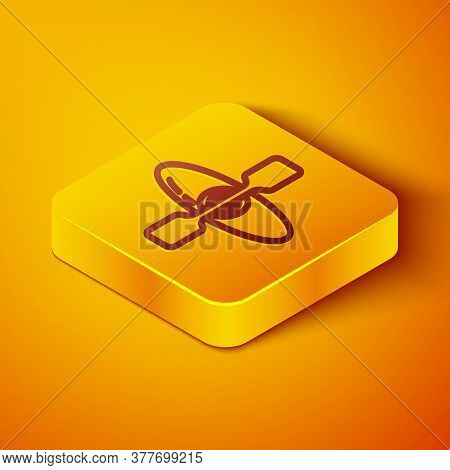 Isometric Line Kayak And Paddle Icon Isolated On Orange Background. Kayak And Canoe For Fishing And