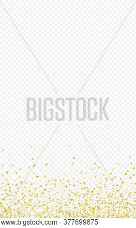 Golden Shine Light Transparent Background. Christmas Sequin Postcard. Yellow Shards Festive Design.