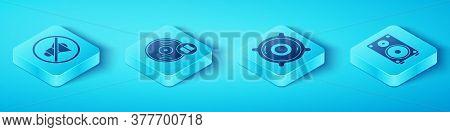 Set Isometric Speaker Mute, Vinyl Disk, Stereo Speaker And Stereo Speaker Icon. Vector