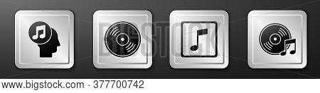 Set Musical Note In Human Head, Vinyl Disk, Music Note, Tone And Vinyl Disk Icon. Silver Square Butt