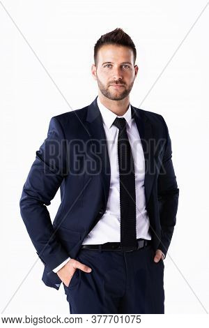 Confident Businessman Standing At Isolated White Background And Smiling