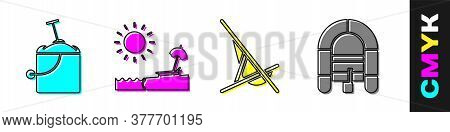 Set Sand In Bucket With Shovel, Beach With Umbrella And Chair, Sunbed And Rafting Boat Icon. Vector