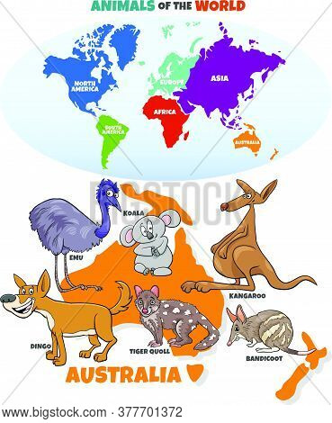 Educational Cartoon Illustration Of Typical Australian Animals And World Map With Continents