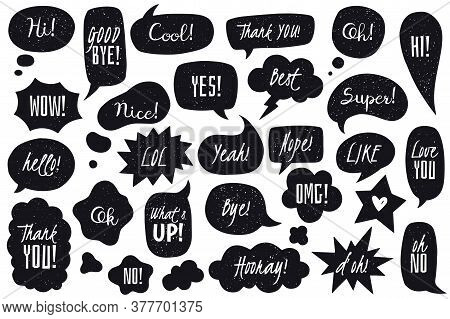 Speech Bubbles Doodles Set. Black Doodle Speech Bubbles Collection. Hand Drawn In Comic Style Vector