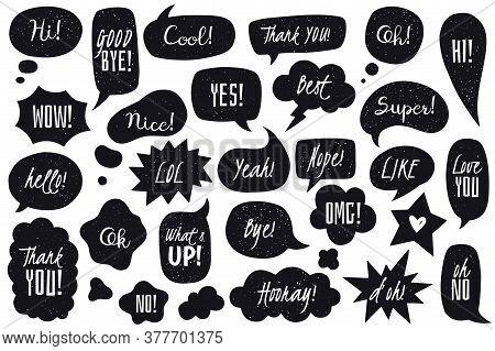 Speech Bubbles Doodles Set. Black Doodle Speech Bubbles Collection. Hand Drawn In Comic Style Vector
