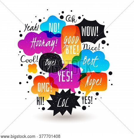 Speech Bubbles Illustration. Colored Semitransparent Doodle Speech Bubbles Collection. Hand Drawn In
