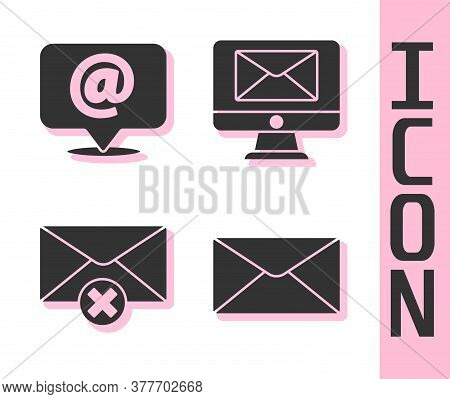 Set Envelope, Mail And E-mail On Speech Bubble, Delete Envelope And Monitor And Envelope Icon. Vecto