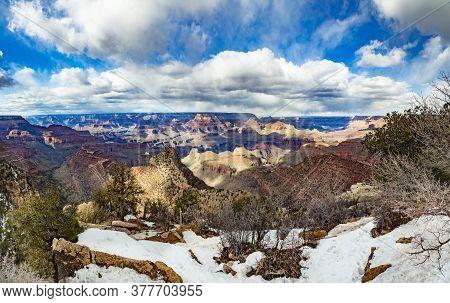 Scenic Panorama Of Grand Canyon At South Rim