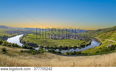 Scenic Moselle River Loop At Leiwen, Trittenheim
