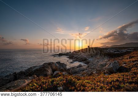 Sunrise Over The Silhouetted Genoese Tower At Punta Spano Near Lumio And The Rocky Coastline Of The