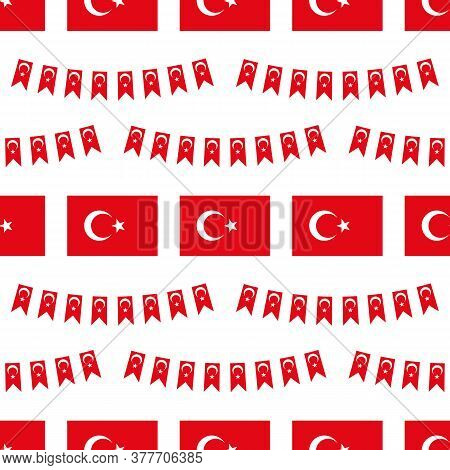 Vector Seamless Pattern Background With Flag Of Turkey Design Elements For Turkish Public And Nation