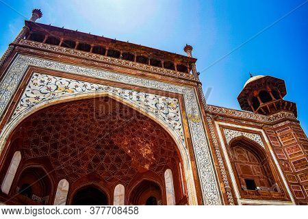Architecture Of Entry Gate And Tomb Inside For Prayer At Taj Mahal. Taj Mahar Also Called As Seven W