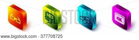 Set Isometric 3d Cinema Glasses, Monitor With Hd Video, 3d Cinema Glasses And Online Play Video With