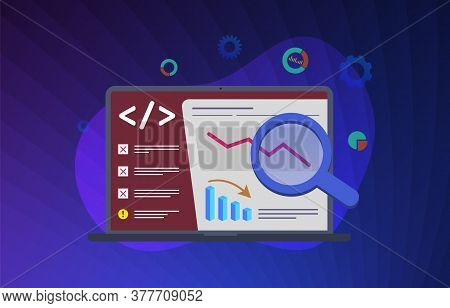 Seo Mistake, Digital Marketing Campaign Modern Vector Illustration Concept. Wrong Or Incorrectly Com