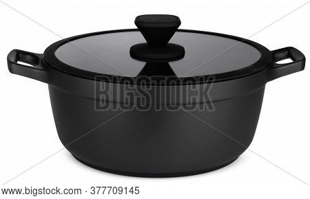 New Black Saucepan Isolated On White Background