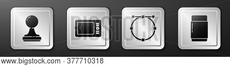 Set Stamp, Graphic Tablet, Circle With Bezier Curve And Eraser Or Rubber Icon. Silver Square Button.