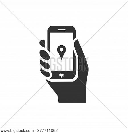 Phone In Hand Icon With Location Pin Icon Inside On White Background. Flat Style. Hand Holdng Smartp