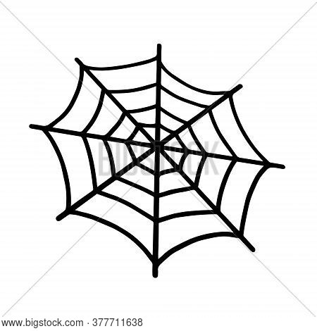 Web Isolated On A White Background. Web For Halloween, A Scary, Ghostly, Spooky Element For Design O