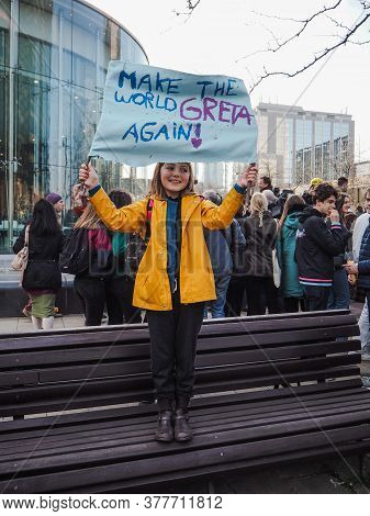 21 February 2019 - Brussels, Belgium: Young Girl Holding A Poster Supporting Greta Thunberg During A