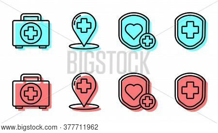 Set Line Shield And Heart Rate, First Aid Kit, Map Pointer With Cross Hospital And Medical Shield Wi