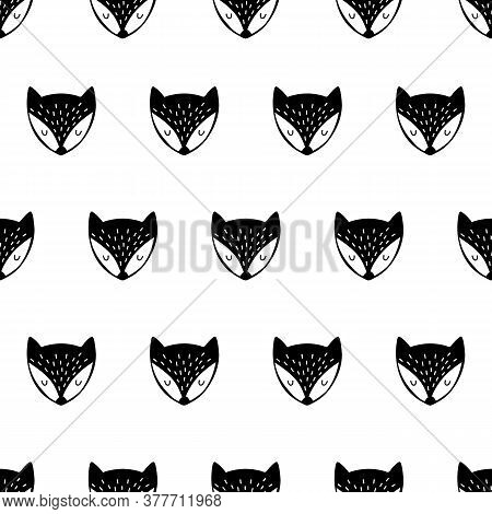 Fox. Black And White Seamless Pattern. Hand Drawn. Cute Foxes. Vector