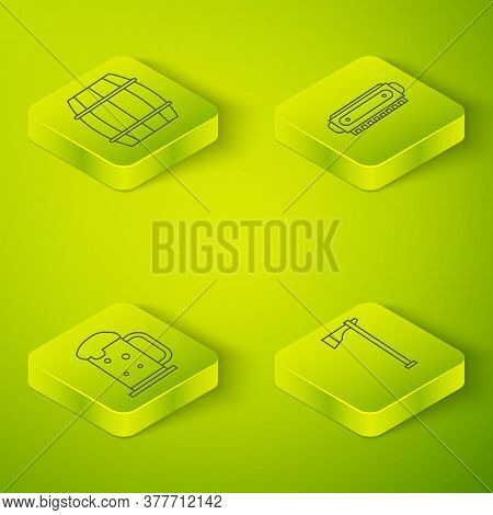 Set Isometric Harmonica, Wooden Beer Mug, Tomahawk Axe And Wooden Barrel Icon. Vector