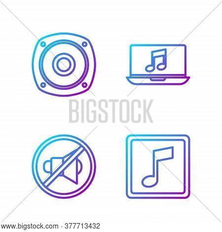Set Line Music Note, Tone, Speaker Mute, Stereo Speaker And Laptop With Music Note. Gradient Color I