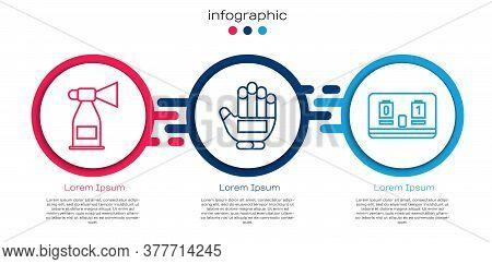 Set Line Air Horn, Hockey Glove And Hockey Mechanical Scoreboard. Business Infographic Template. Vec