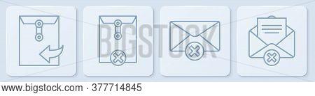 Set Line Envelope, Delete Envelope, Delete Envelope And Delete Envelope. White Square Button. Vector