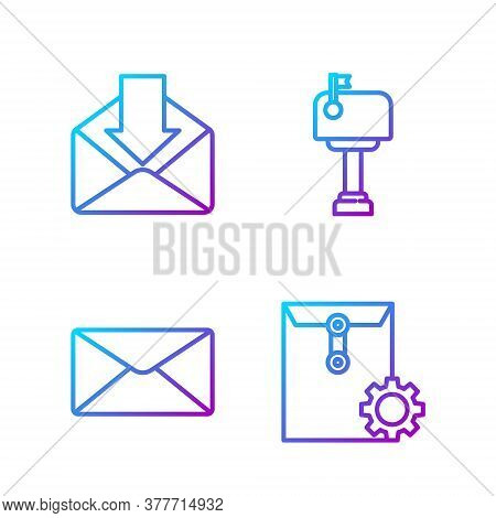 Set Line Envelope Setting, Envelope, Envelope And Mail Box. Gradient Color Icons. Vector
