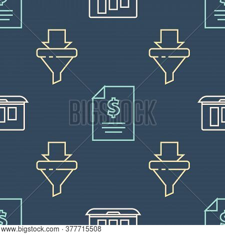 Set Line Laptop With Graph Chart, Sales Funnel With Arrows And Contract Money On Seamless Pattern. V