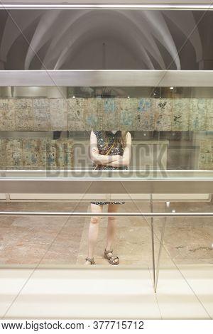 Madrid, Spain - Jul 11th, 2020: Attractive Woman Observing Famous Codex Tudela O Madrid Codex At  Mu